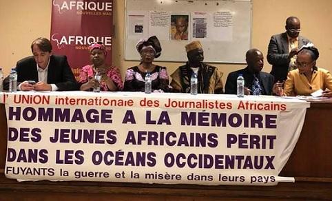 BREF COMPTE-RENDU du déroulement de la cérémonie d'Hommage à la mémoire collective des jeunes migrants noyés dans les océans de la misère, organisée par l'Union Internationale des Journalistes Africains le 21 juillet 2018
