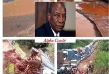 La Guinée est bloquée faute de routes praticables alors qu'Alpha Condé est couché chez son ami en Italie à qui il a attribué le marché de rénovation de l'hôpital DONKA ! Le ministre Elhadj Oyé Guilavogui reporte son voyage sur Kindia pour cause de l'état de la route !