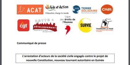 GUINEE / Communiqué de presse de plusieurs ONG Françaises relatif aux arrestations des membres du FNDC en Guinée.