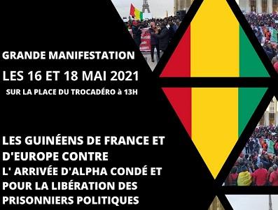 URGENT / MANIFESTATION DES GUINEENS DE FRANCE CONTRE L'ARRIVEE D'ALPHA CONDE EN FRANCE.
